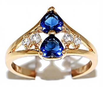 Кольцо фирмы Xuping.Цвет: позолота .Камни: белый и синий циркон. Есть 17р. 18 р. 18