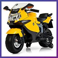 Детский электромотоцикл BMW страховочные колеса Bambi M 3636 EL-6 желтый | Дитячий мотоцикл Бембі