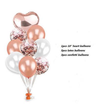 Набор воздушных шаров с конфетти Розовое золото с фольгированным сердцем .9 шт.