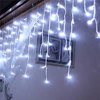 Белая Гирлянда Бахрома на прозрачном проводе 4 x 0,85 м 280 LED, переходник, фото 1