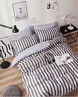 Комплект постельного белья Bella Villa сатин Евро серый в полоску