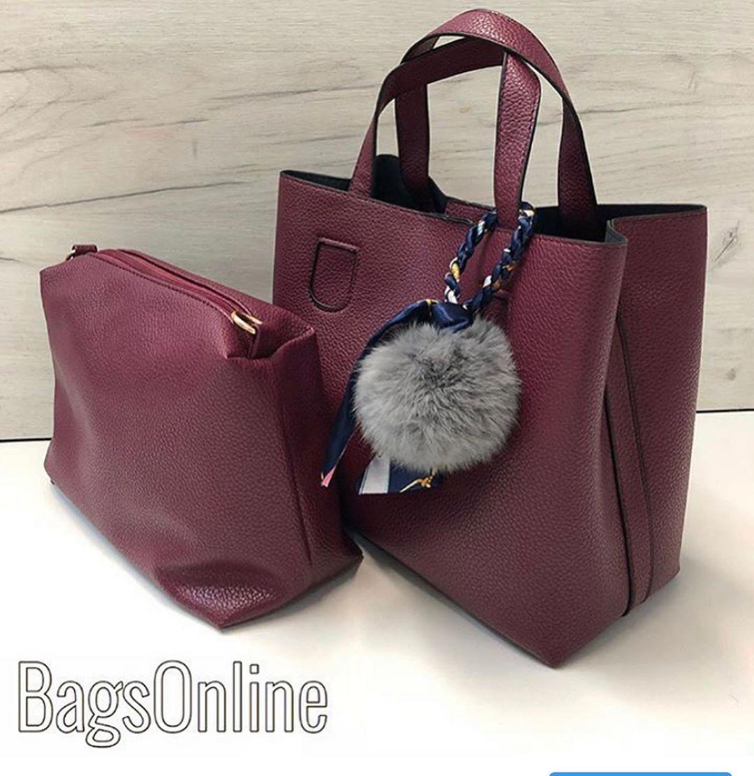 Комплект сумок с брелком пушком / 2 сумочки в комплекте арт.0251 Бордовый