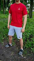 """Мужской комплект футболка + шорты Jordan красного и серого цвета """""""" В стиле Jordan """""""""""