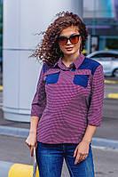 Стильная женская блузка-рубашка батал с рукавами 3/4 и двумя нагрудными карманами (р.52-56). Арт-1045/11, фото 1