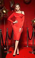 Трикотажное красное платье на одно плечо  из новогодней коллекции,Белорусская одежда