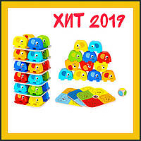 Детская обучающая настольная игра для изучения цветов Tooky Toy Слоники