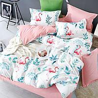 Комплект постельного белья семейный Bella Villa сатин бело-розовый с фламинго