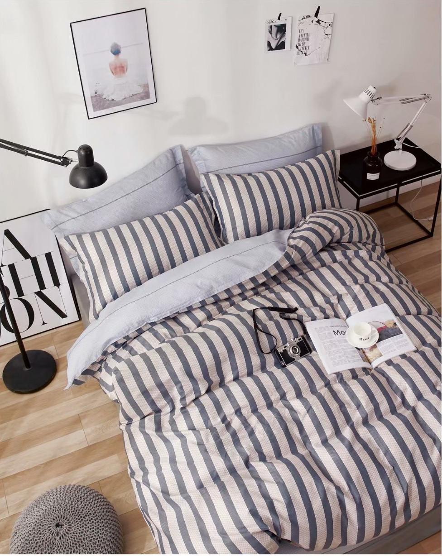 Комплект постельного белья семейный Bella Villa сатин серый в полоску
