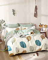 Комплект постельного белья семейный Bella Villa сатин бежево-зеленый