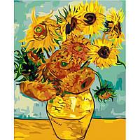 Картины по номерам Подсолнухи Ван Гог/ пленка 40*50   КНО098