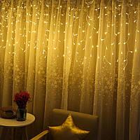 Гирлянда Бахрома на прозрачном проводе 3 x 0,6 м 120 LED тепло-белый цвет, переходник для соединения, фото 1