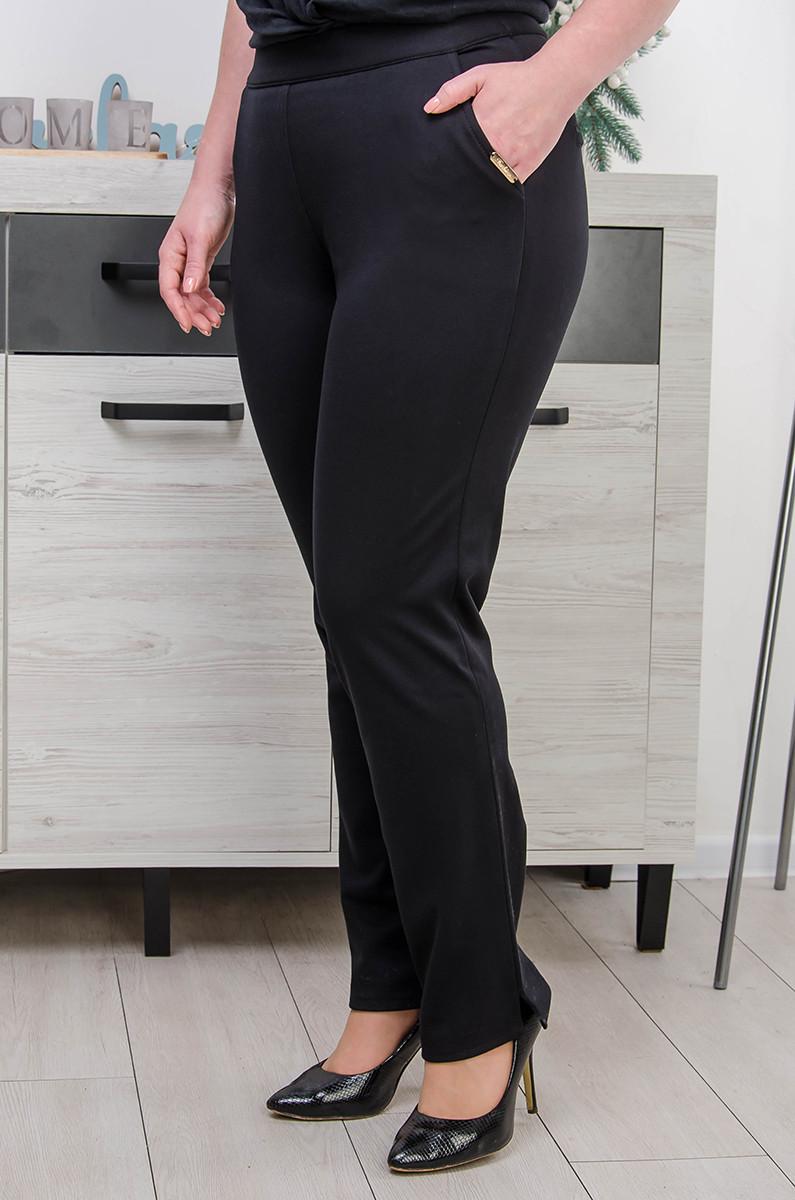 Женские брюки большой размер Утяжка - разрез на флисе  (52-58)