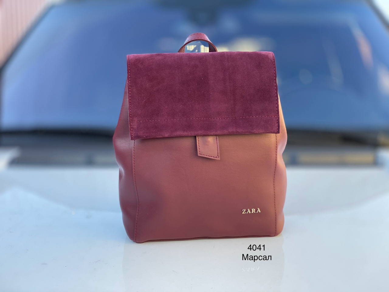 Сумка-рюкзак женский молодежный городской модный рюкзачок брендовый замша+экокожа марсала