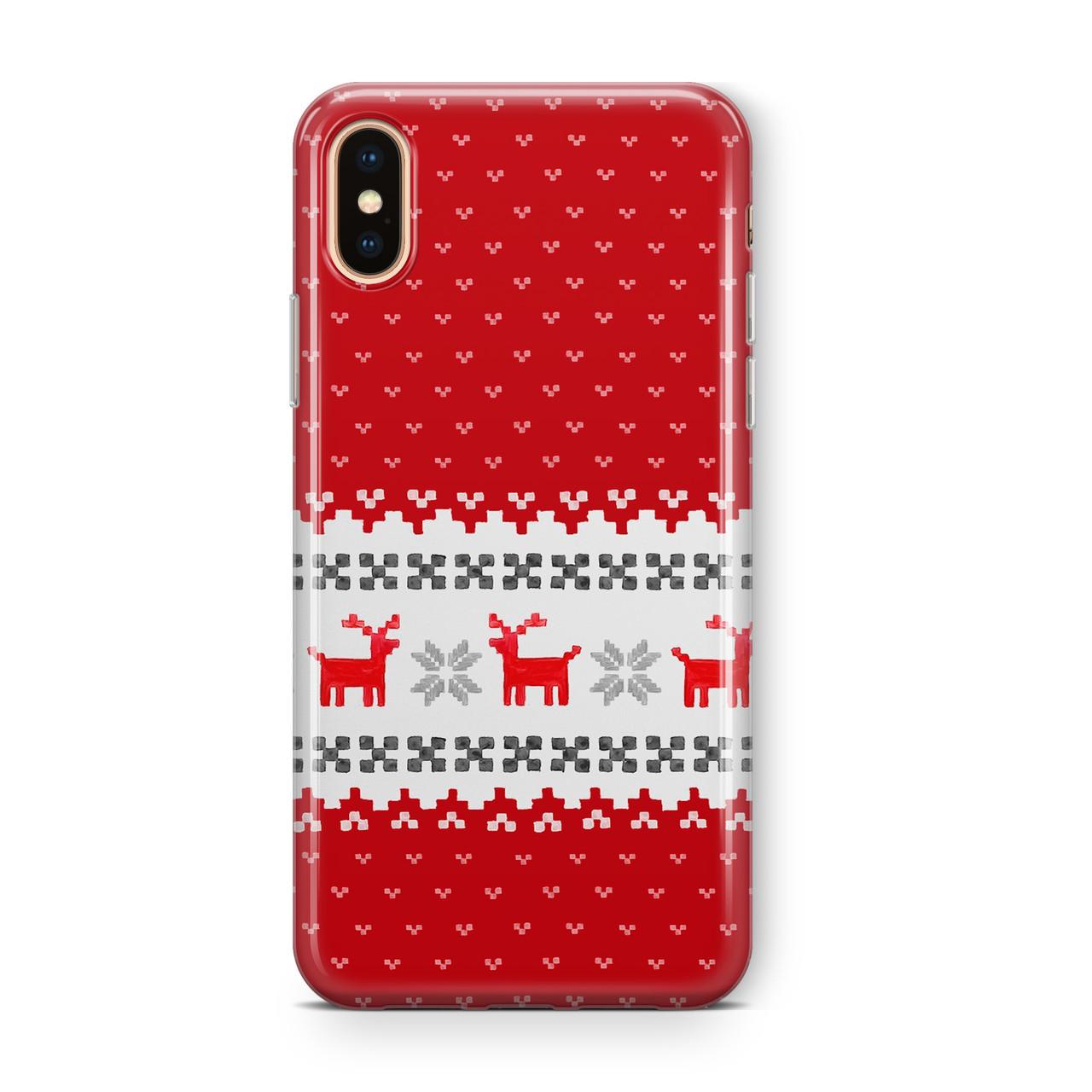 Дизайнерский пластиковый новогодний чехол для iPhone X/ XS /Xr /XS Max, с красной вышивкой оленей