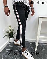 Мужские осенние штаны с лампасами двухнитчка черные белые S M L