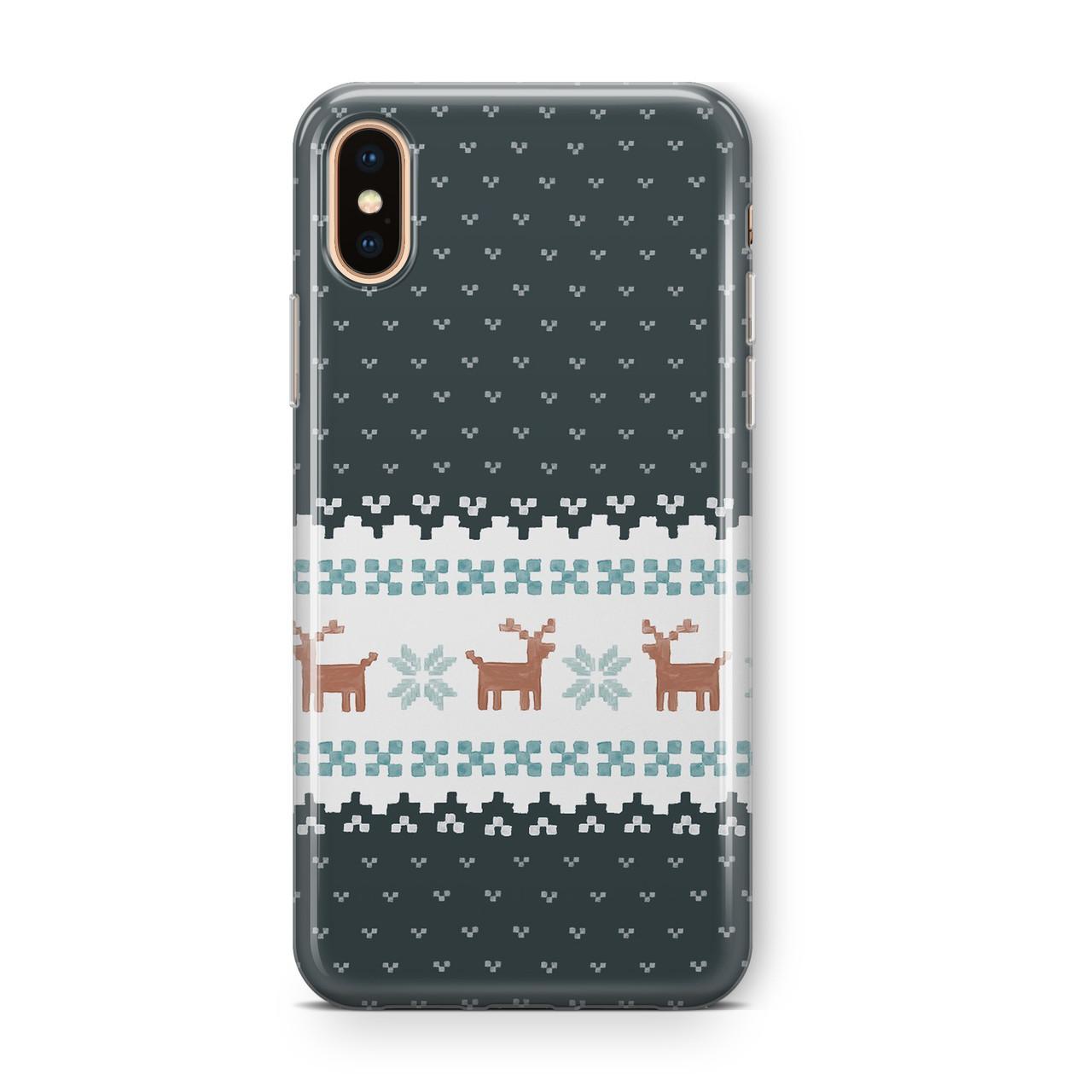Дизайнерский пластиковый новогодний чехол для iPhone X/ XS /Xr /XS Max, с серой вышивкой оленей