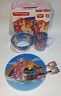 Набор стеклянной детской посуды Metr+ Единорог