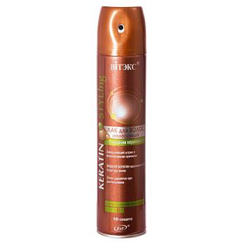 ЛАК для волос невесомый с жидким кератином суперсильной фиксации 300 мл.