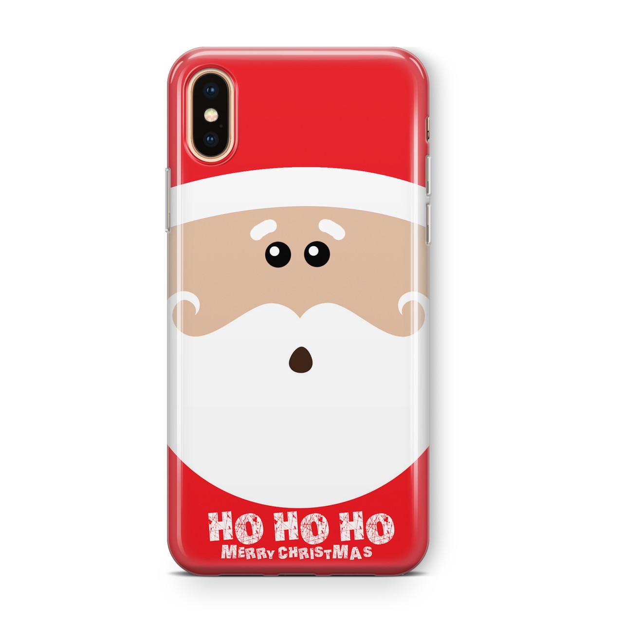 "Дизайнерский пластиковый новогодний чехол для iPhone X/ XS /Xr /XS Max, с дедом морозом ""Хо-хо-хо"""