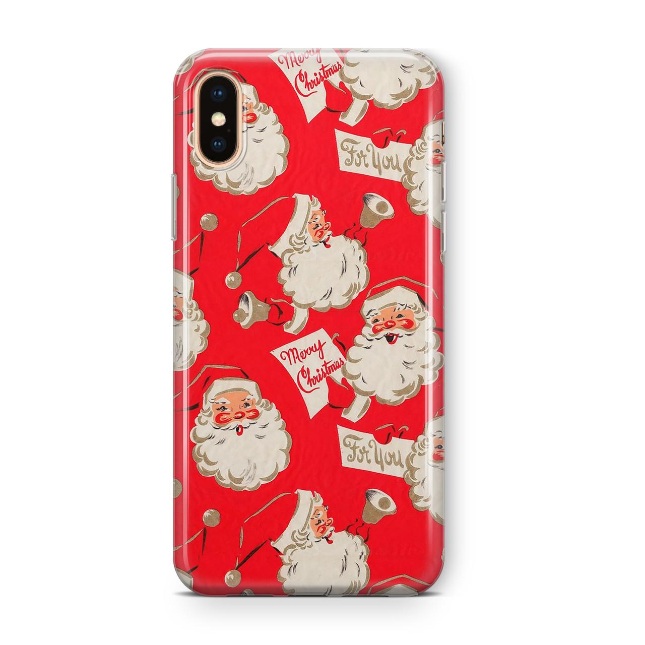 Дизайнерский пластиковый новогодний чехол для iPhone X/ XS /Xr /XS Max, с лицами дедов морозов