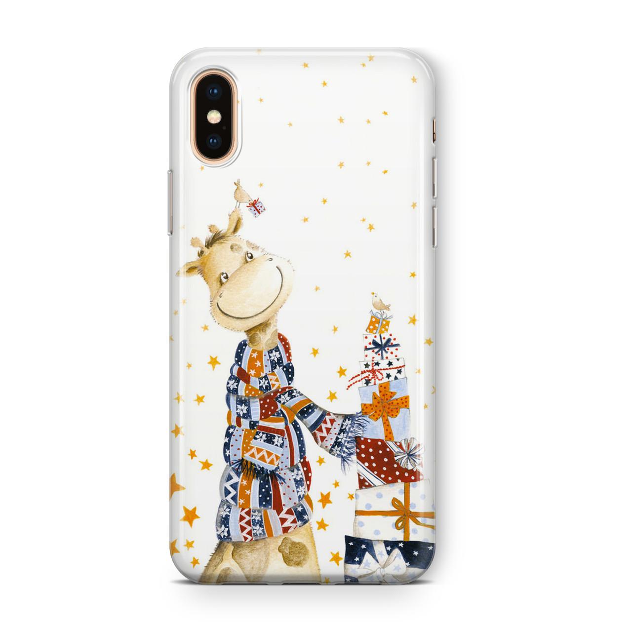 Дизайнерский пластиковый новогодний чехол для iPhone X/ XS /Xr /XS Max, с жирафом возле подарков