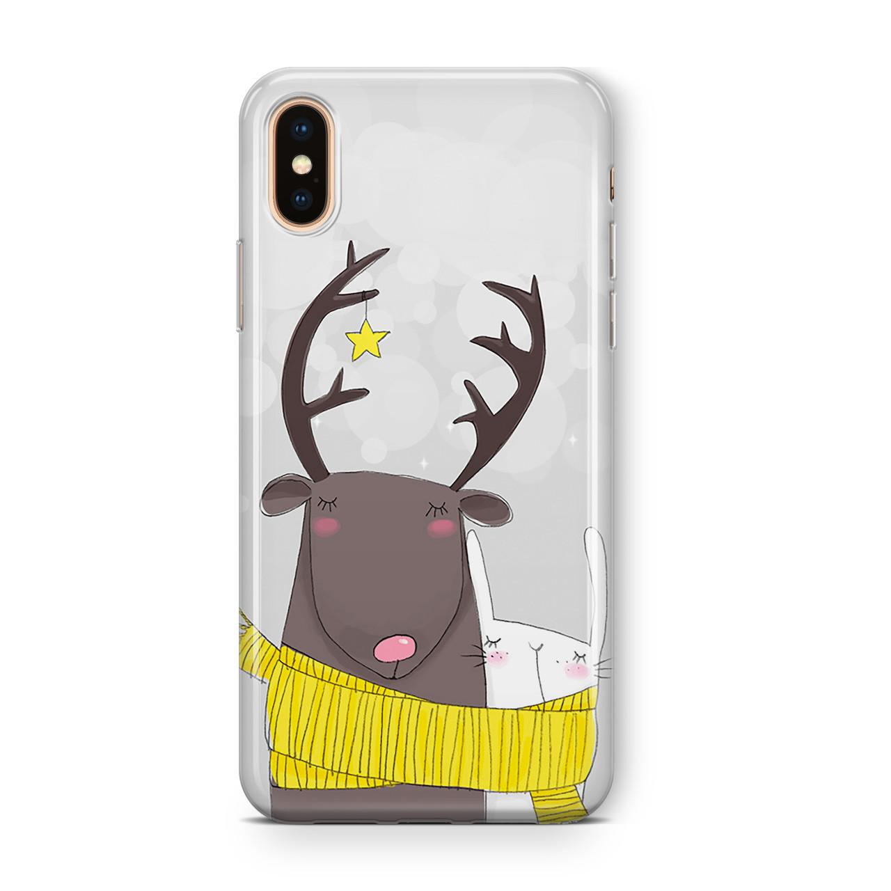 Дизайнерский пластиковый новогодний чехол для iPhone X/ XS /Xr /XS Max, с зайчиком и оленем в шарфе
