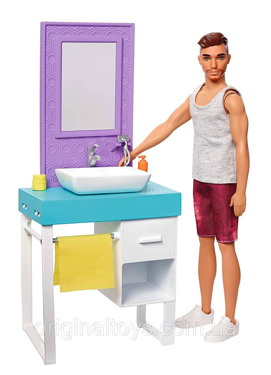 Набор Барби Кен Barbie Комната Кена Ванная комната Barbie Ken Shaving & Bathroom FYK53