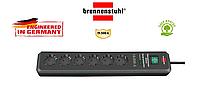 Сетевой фильтр удлинитель Brennenstuhl Secure-Tec, 6 розеток, защита 19500A, с индикатором, оригинал кабель 2м