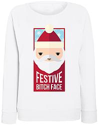 Женский свитшот Festive B*tch Face (белый)