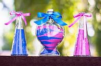 Песок для песочной церемонии на свадьбу. Синий + розовый цвет. Для литровой емкости
