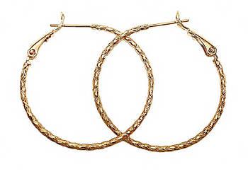 Серьги - кольца с рифлением фирмы Xuping, цвет: позолота. Диаметр серьги: 3,5 см, ширина: 1,5 мм.