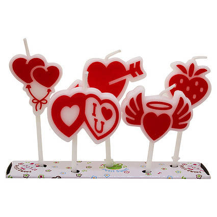 """Набор свечей  для торта """" Сердечки с рисунком """""""