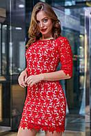 Красивое нарядное кружевное платье футляр 42-48 размера красное 46