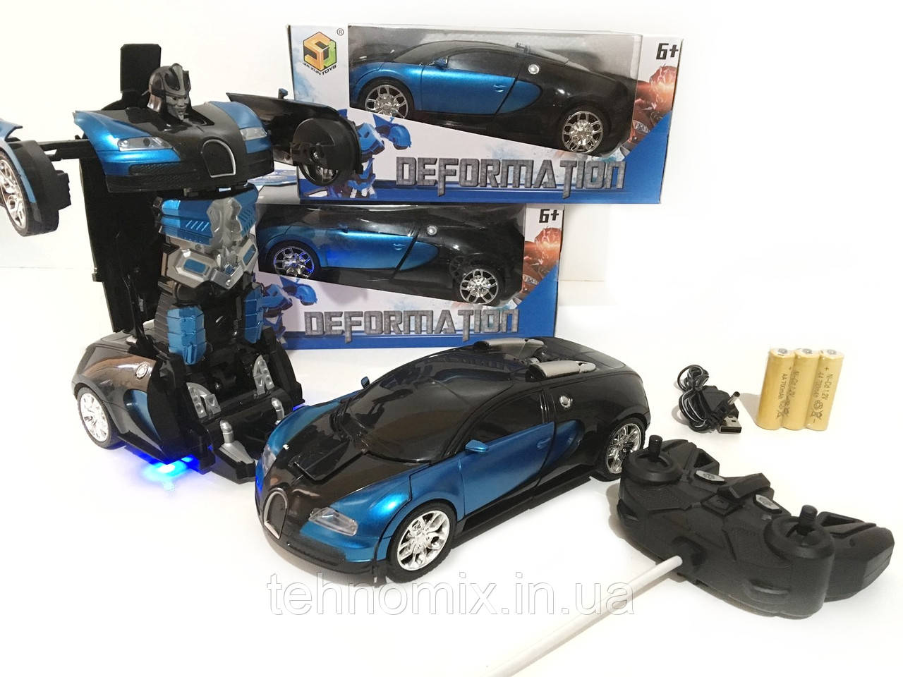 Машинка Трансформер Bugatti Robot С ПУЛЬТОМ СИНЯЯ