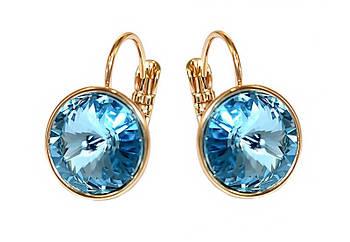 Серьги фирмы ХР, позолота.Камни: Swarovski.Цвет: голубой.Высота серьги: 1,9 см. Ширина: 12 мм.