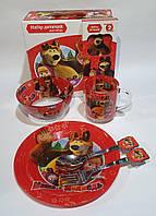 Набор стеклянной детской посуды Metr+ Маша и Медведь