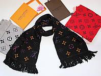 Теплый вязаный шарф Louis Vuitton Monogram Logomania серый Черный