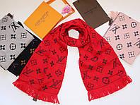 Теплый вязаный шарф Louis Vuitton Monogram Logomania серый Красный
