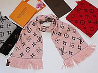 Теплый вязаный шарф Louis Vuitton Monogram Logomania серый Пудровый