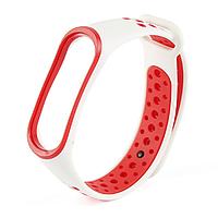 Ремешок для фитнес-трекера Mi Band 3 и Mi Band 4 NIKE STYLE Белый с красным