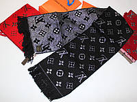 Теплый вязаный шарф Louis Vuitton Monogram Logomania Черный