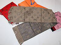Теплый вязаный шарф Louis Vuitton Monogram Logomania Темный беж