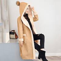Стильное зимние пальто дубленка с капюшоном для модных девушек