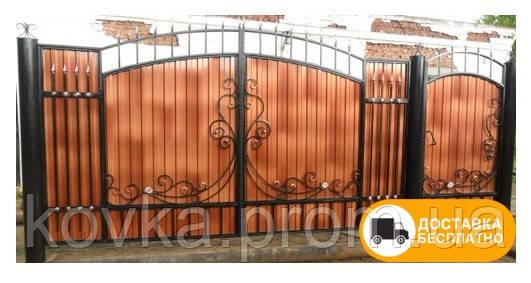 Ворота и калитка с коваными элементами и профнастилом, код: Р-0128