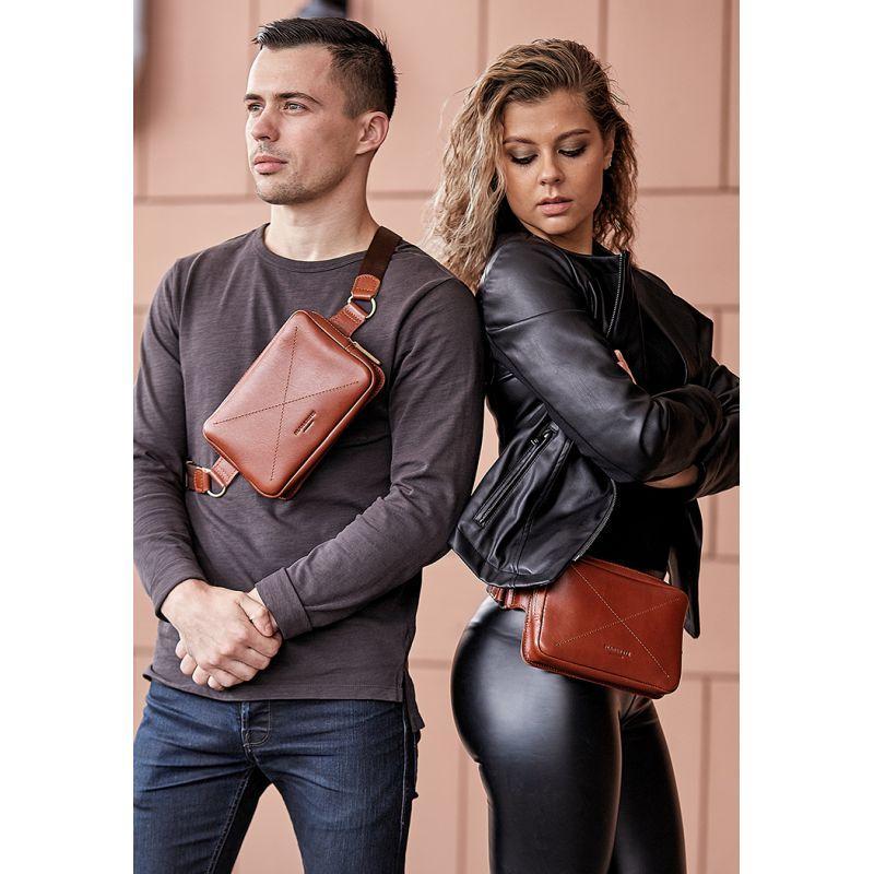 Кожаная поясная сумка Dropbag Mini светло-коричневая
