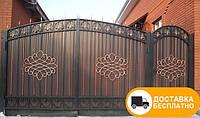 Ворота с калиткой и профильным листом, код: Р-0135