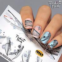 Слайдер-дизайн для дизайна ногтей - водные наклейки - черные полосочки и снежинки M263