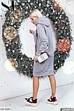 Жіноче тепле худі на трьох нитці норма і батал, червоний, меланж, синій, фото 3