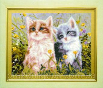 Схема для вышивания бисером на авторской канве котята