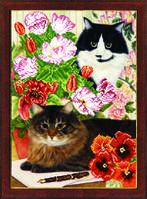 Схема для вышивания бисером на авторской канве кот